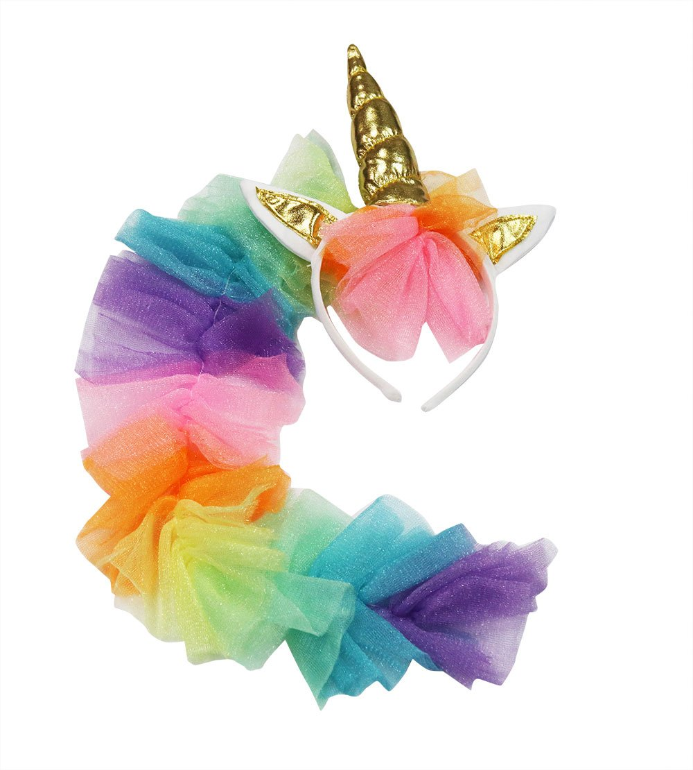 Seasons Direct Halloween Girl's Rainbow Unicorn Costume with Wing and Headband 8