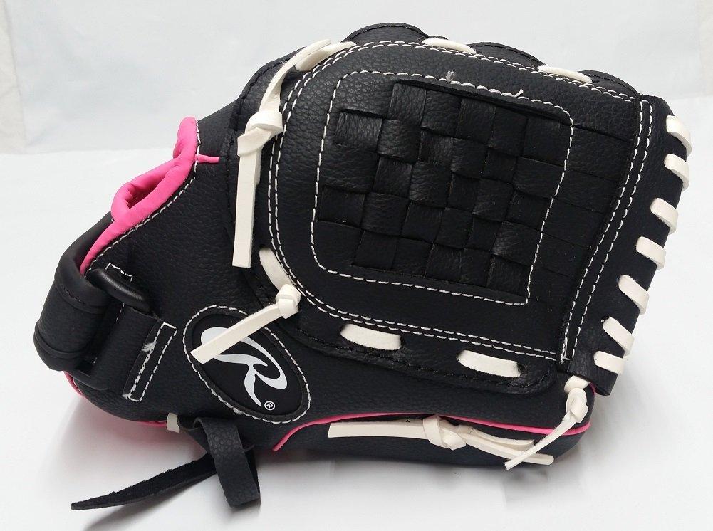 PINK//BLACK RAWLINGS PLAYERS SERIES RIGHT HAND THROW TBALL GLOVE MITT