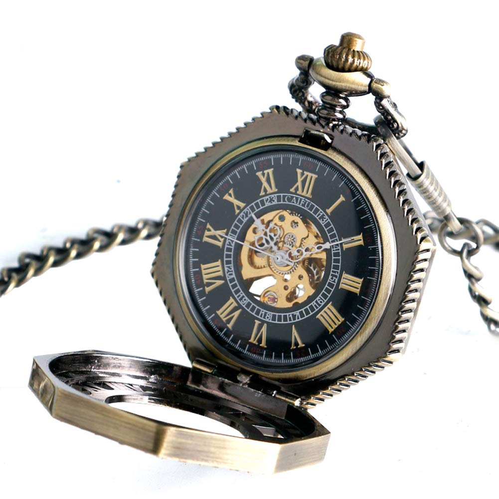 Vintage Pocket Watch, Octagon Roman Numbers Mechanical Pocket Watch for Men, Hollow Hand Wind Pocket Watch Gift by mygardens (Image #3)
