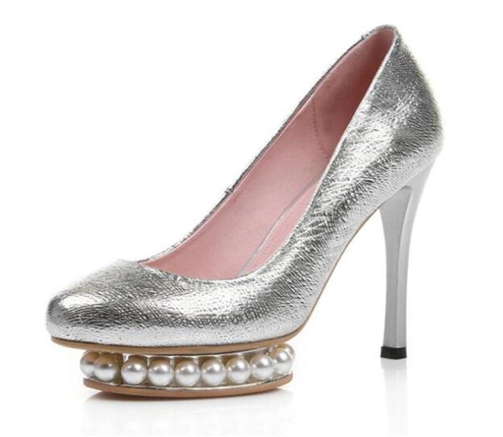 Frauen Schuhe Echtes Echtes Echtes Leder Party Brautkleid Stiletto Heel Pearl Plateau Pumps Silber Größe 35 bis 42 431937