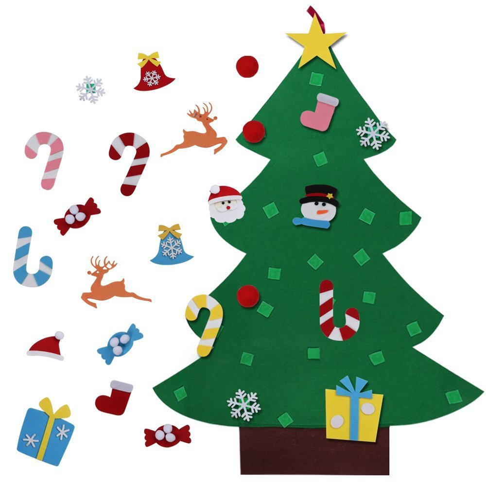 MISS FANTASY Felt Christmas Tree for Kids Xmas Gift for Toddlers New Year Wall Hanging Decorations Christmas Party Game (Green)