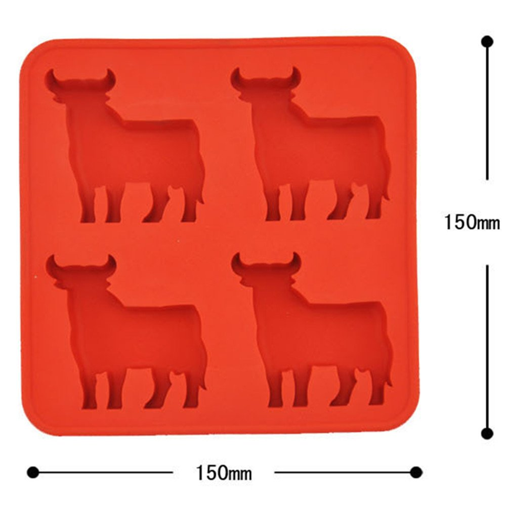 TOOZI Bull Shape Ice Molds - Food-Grade Silicone 4 Bulls mold Red by TOOZI: Amazon.es: Hogar