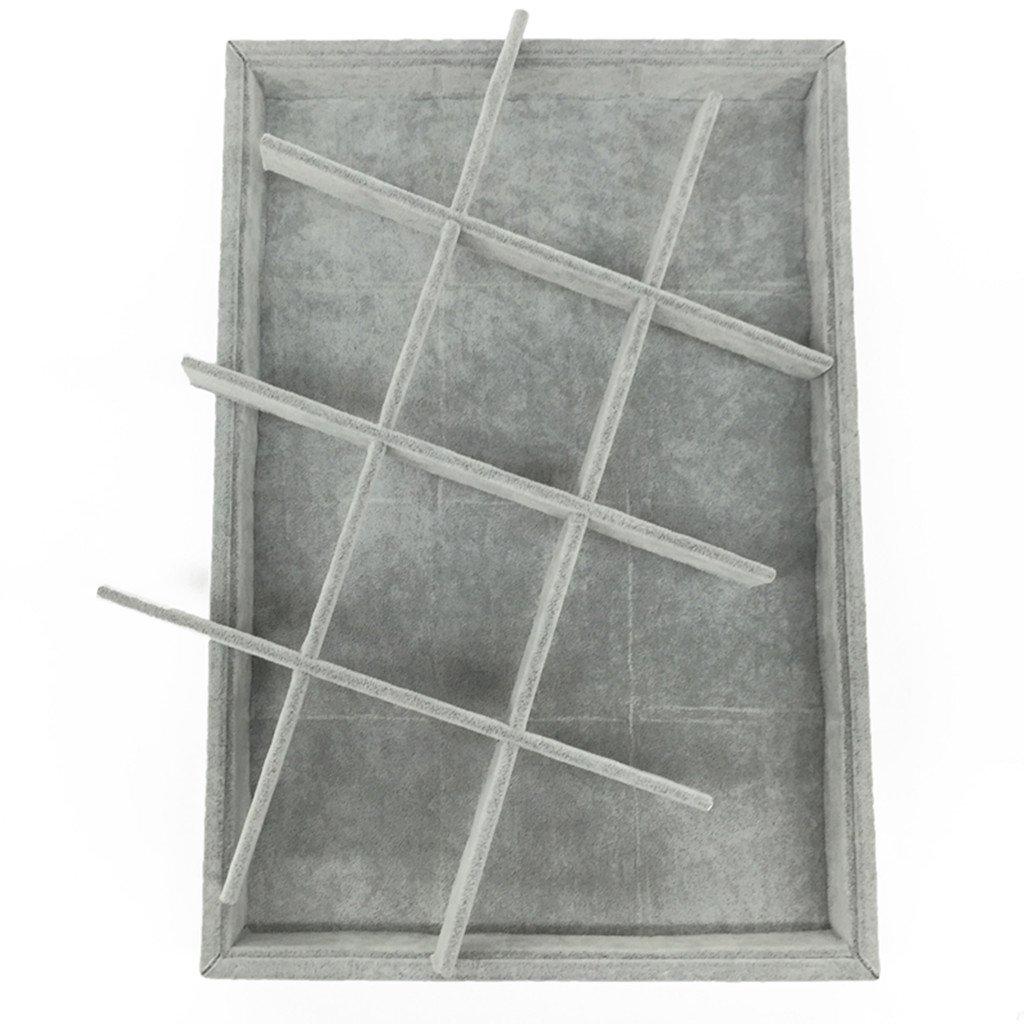 MagiDeal 12 Slot Vassoi Per Gioielli Vetrina Rimovibile Portaoggetti 35 x 24 x 3 cm