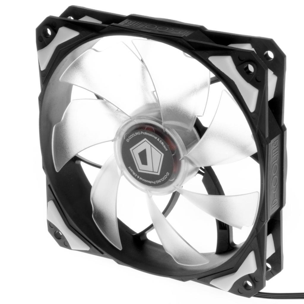 60CFM ID-COOLING NO-12025-W White LED 120mm Fan With De-vibration Rubber 1600RPM