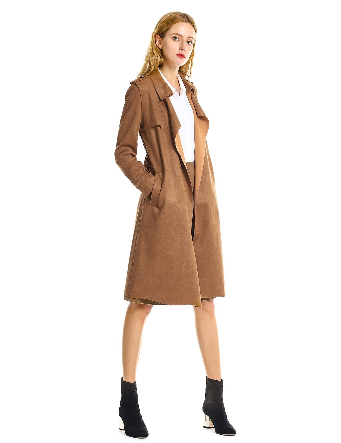 ZAN.STYLE Women Suede Coats Long Duster Jacket Trench Coat with Belt (XL, Brown)