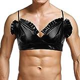 (フィーショー) FEESHOW メンズ ランジェリー ブラ ブラジャー 滑らか レース ノンワイヤー ブラ トップ インナーシャツ 肩紐調節可能