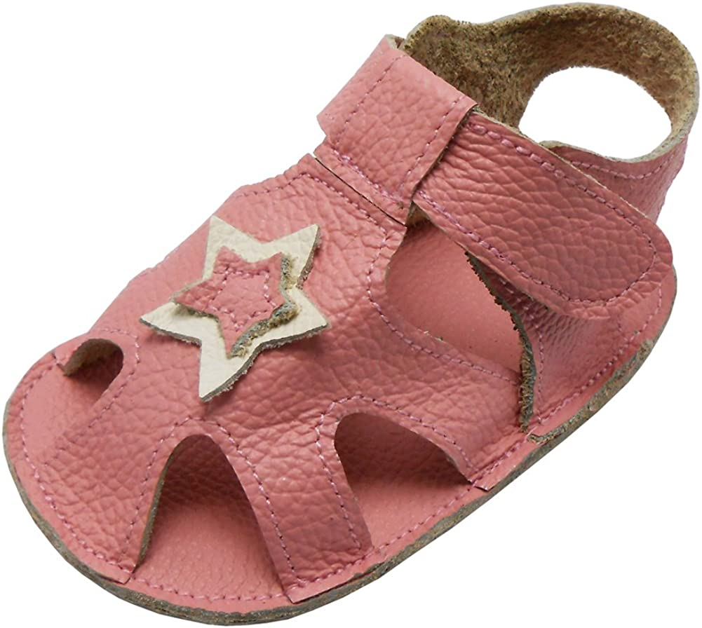 SAYOYO Baby Girl Genuine Leather Soft Sole Sandals Summer Prewalker Toddler Shoes Pink