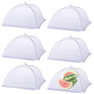 HiGift (6 pack) Food cover Pop-up 17x17 Mesh Food Covers Tent Umbrella for Outdoors, Screen Food Tents, Parties Picnics, BBQs, Reusable and Collapsible