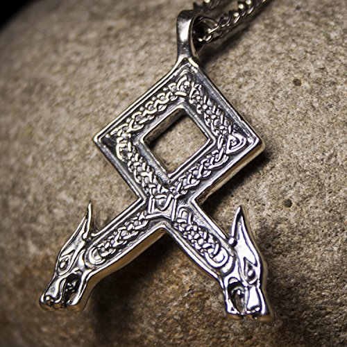 Sterling Silver Celtic Pattern - Sterling Silver Viking Othala Rune Pendant Necklace with Wolf Head and Irish Celtic knot Pattern Norse jewelry for Men Odal Elder Futhark Mens Protection Amulet Talisman Handmade