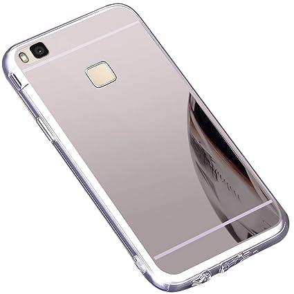 Funda Huawei P9 Lite ,Carcasa Protectora [Trasera] de [Tpu] para Móvil En [Con Efecto Espejo] Ultra-Delgado Caras Cubierta Caso Espejo Funda Case ...