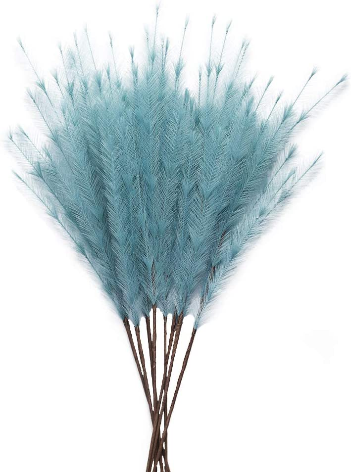 UiiziC Artificial Flowers Ascendant Grass Fake Flowers for Wedding Bouquets Home Party Hotel Centerpieces Decorations (Dusty Blue, 8pcs Ascendant Grass)