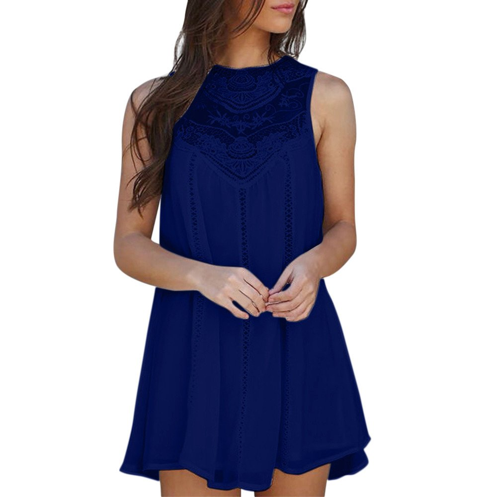 POTO Women's Solid Lace Patchwork Loose Casual Mini Chiffon Dress (M, Navy)