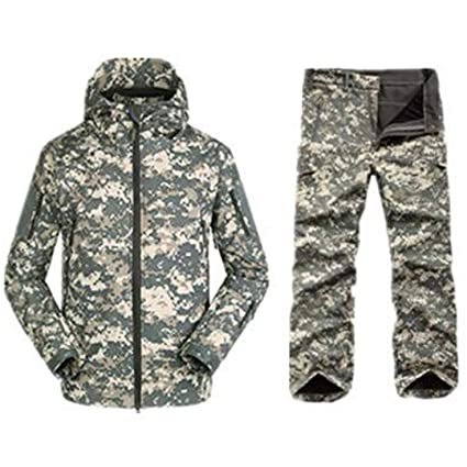 601f8ce7a6440 FieldShuFu Tactical Softshell Camouflage Jacket Set Men Army Windbreaker  Waterproof Hunting Clothes Set Military Jacket Pants