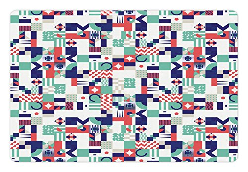Ambesonne Mid Century Pet Mat for Food and Water, Rich Contemporary Collection of Funky and Pastel Shapes, Rectangle Non-Slip Rubber Mat for Dogs and Cats, Mint Green Navy Blue Dark Coral ()