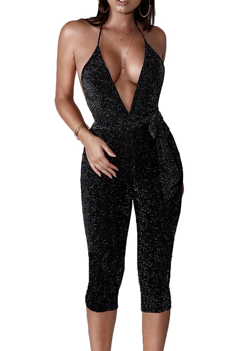 Jennyarn Bodycon Sequin Jumpsuit For Women Sexy Sleeveless Clubwear Backless Halter V Neck Romper Black M