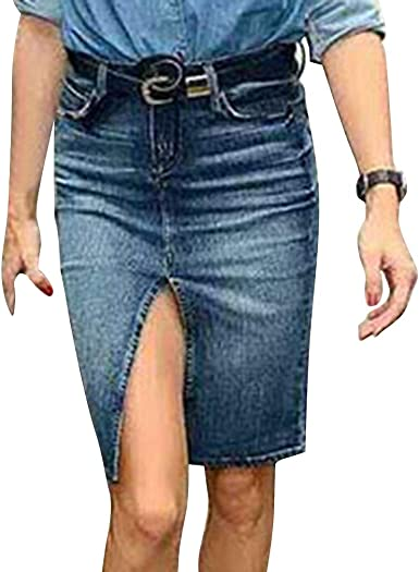 Hongxin Mezclilla Falda De Cintura Alta para Mujer Sexy Frente ...