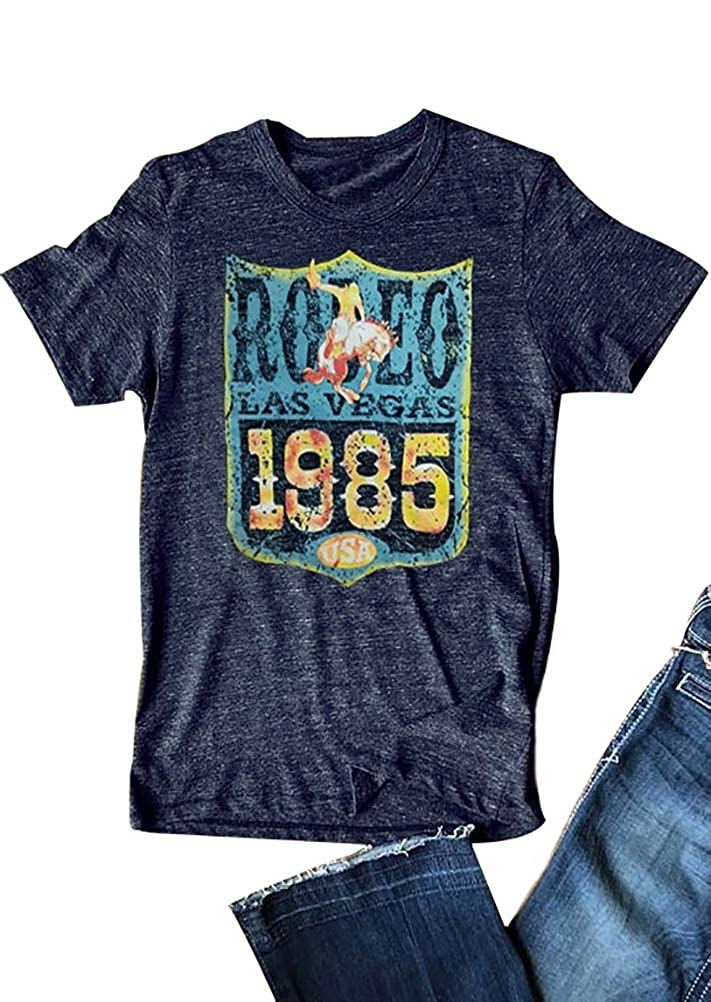 Deepbluee Aring Women TShirt Rodeo Las Vegas 1985 USA T Shirts Short Sleeve Vintage ONeck Casual Tee Blouse
