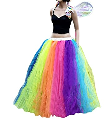 1d06761b142bc CoutureBridal Women Long Tutu Rainbow Tulle Skirts Performance Fluffy at  Amazon Women's Clothing store: