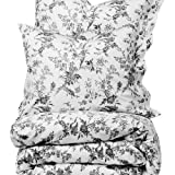French Country White Gray Floral Full Queen Size Duvet Cover Set 100% Cotton 180 Thread Count by Fasthomegoods