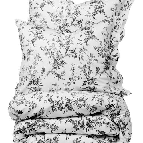French Country White Gray Floral Full Queen Size Duvet Cover Set 100% Cotton 180 Thread Count by Fasthomegoods by Fasthomegoods