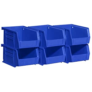 Akro-Mils 08212Blue 30210 Plastic Storage Stacking AkroBins for Craft and Hardware (6 Pack), Blue