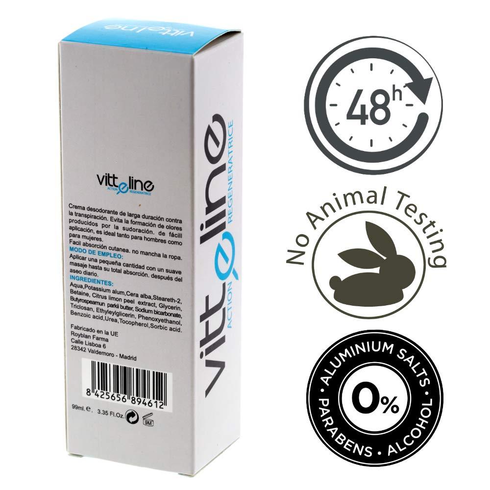 Desodorante hombre mujer sin aluminio ni alcohol en crema, antitranspirante durante 48h. Fabricado con productos naturales ideal para pieles sensibles ...