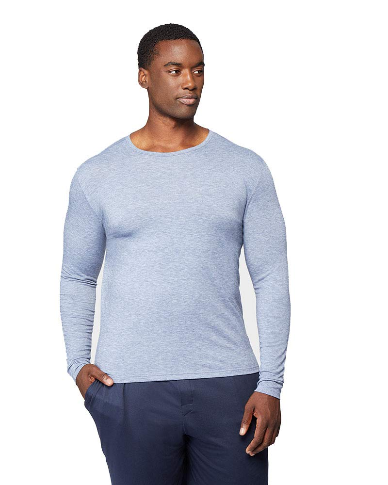 Mens Lightweight Baselayer Crew Top, Deep Pacific Heather, Size Large by 32 DEGREES