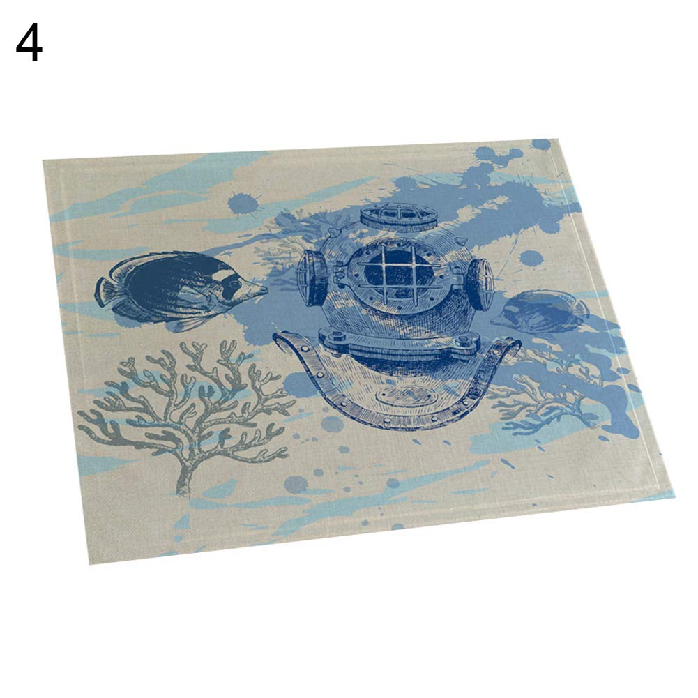 memorytime Fish Rudder Compass Heat Insulated Pad Kitchen Dining Table Mat Placemat Decor Kitchen Dining Supplies - 4#
