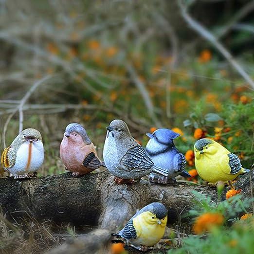 Cozyhoma 6 piezas de pájaros miniaturas jardín Animal Adornos Figuras Vivid Resina Magpie Robin Bird al aire libre estanque interior Ornamento Escultura Decoración: Amazon.es: Hogar