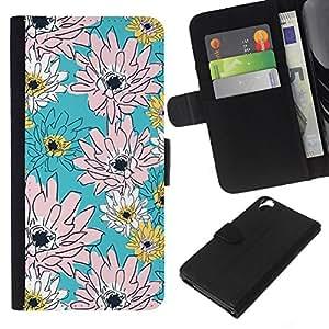 Planetar® Modelo colorido cuero carpeta tirón caso cubierta piel Holster Funda protección Para HTC Desire 820 ( Pink Floral Pattern Vintage Wallpaper )