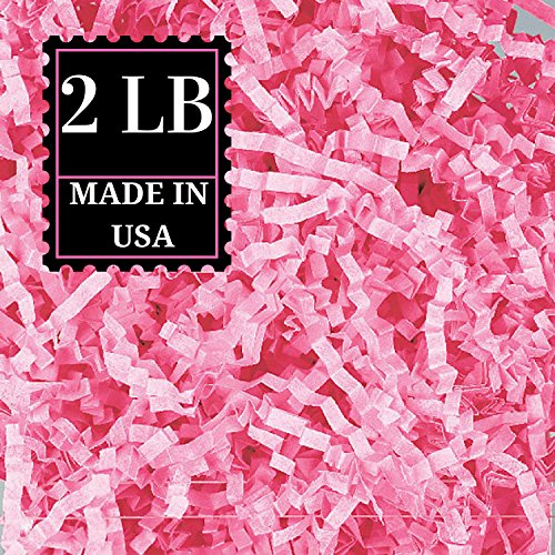 Crinkle Cut Paper Shred Filler for Packing and Filling Gift Baskets , Natural Craft Bedding in Brown Kraft Red Pink and White … (2 LB, pink)