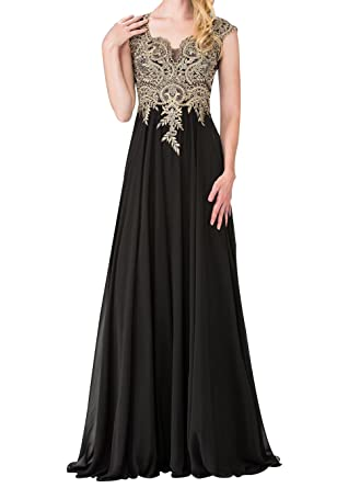 LiCheng Bridal A-Line Gold Lace Applique Cap Sleeve Long Chiffon Evening Dresses Sheer Back