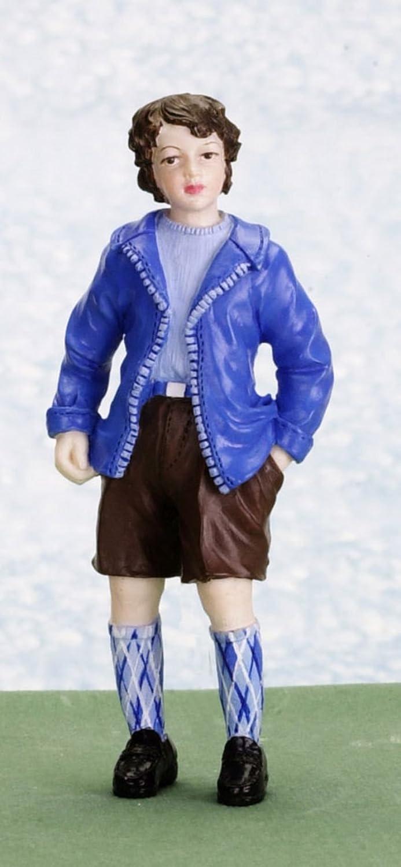 Maison De Poup/ées Miniature 1:12 Echelle R/ésine Personnages Ann/ées 1950 Boy dans Pantalons Courts /& Veste