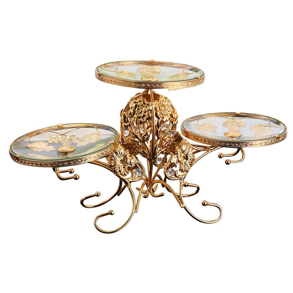iecool Stainless Steel European Three-tier Glass Fruit Plate Dessert Rack Gold