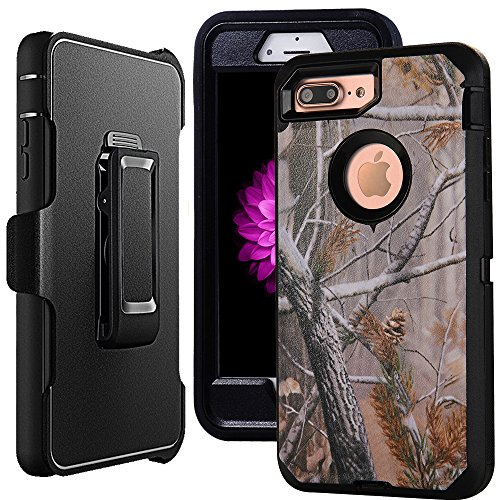 "iPhone 7 Case Belt-Clip,Harsel Holster Heavy Duty Defender Case Camo Wood Full-Body Rugged Protective Military Grade Shockproof Case w/Clear Screen Protector & Kickstand for iPhone 7 4.7"" (Tree B) ()"