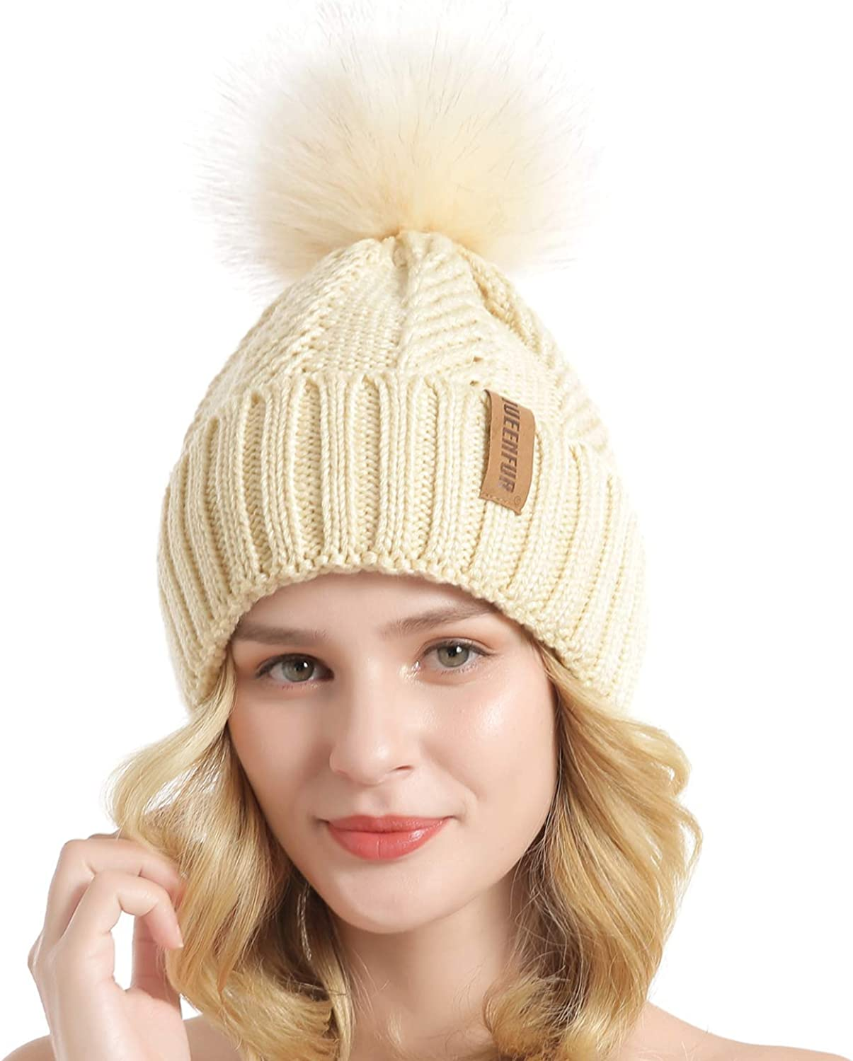 Winter Hats for Women Pompom Fur Hat Knitted Beanies Thicker Hat with Flaps Cap Scarf