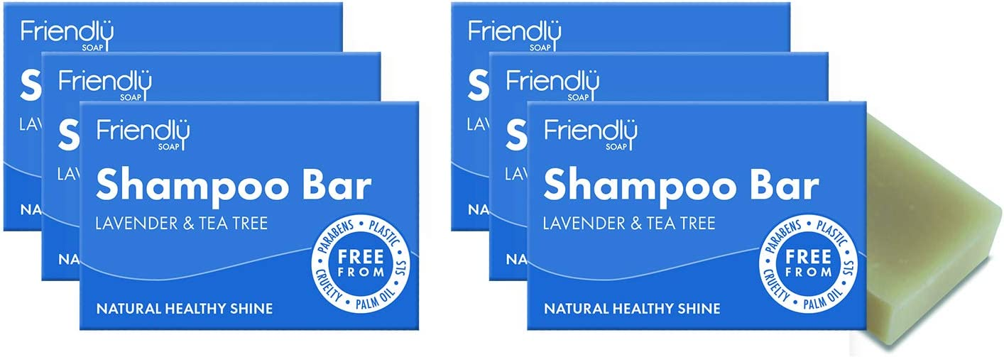 Friendly Soap Lavender and Tea Tree Shampoo Bar Pack of 6