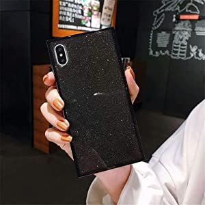 iPhone Xs MAX Transparent Case,Tzomsze Square Glitter Phone Case Reinforced Corners TPU Cushion,Crystal Slim Cover Shock Absorption TPU Silicone Shell-Black