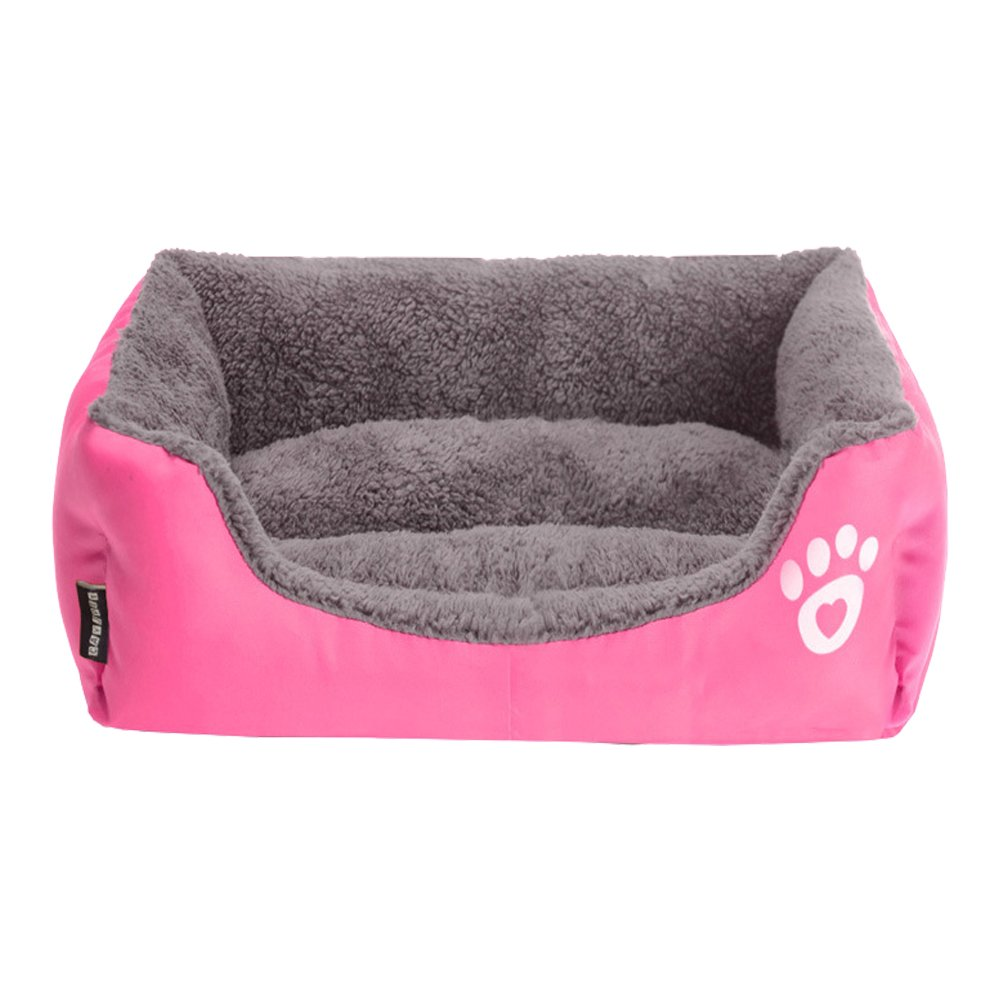 Multi-Color Pet Dog Bed Soft PP Cotton Padded Puppy Cat Sofa Bed Warm Pet Cushion Rectangle Cat Dog Mat Waterproof Pets House-Rose Red