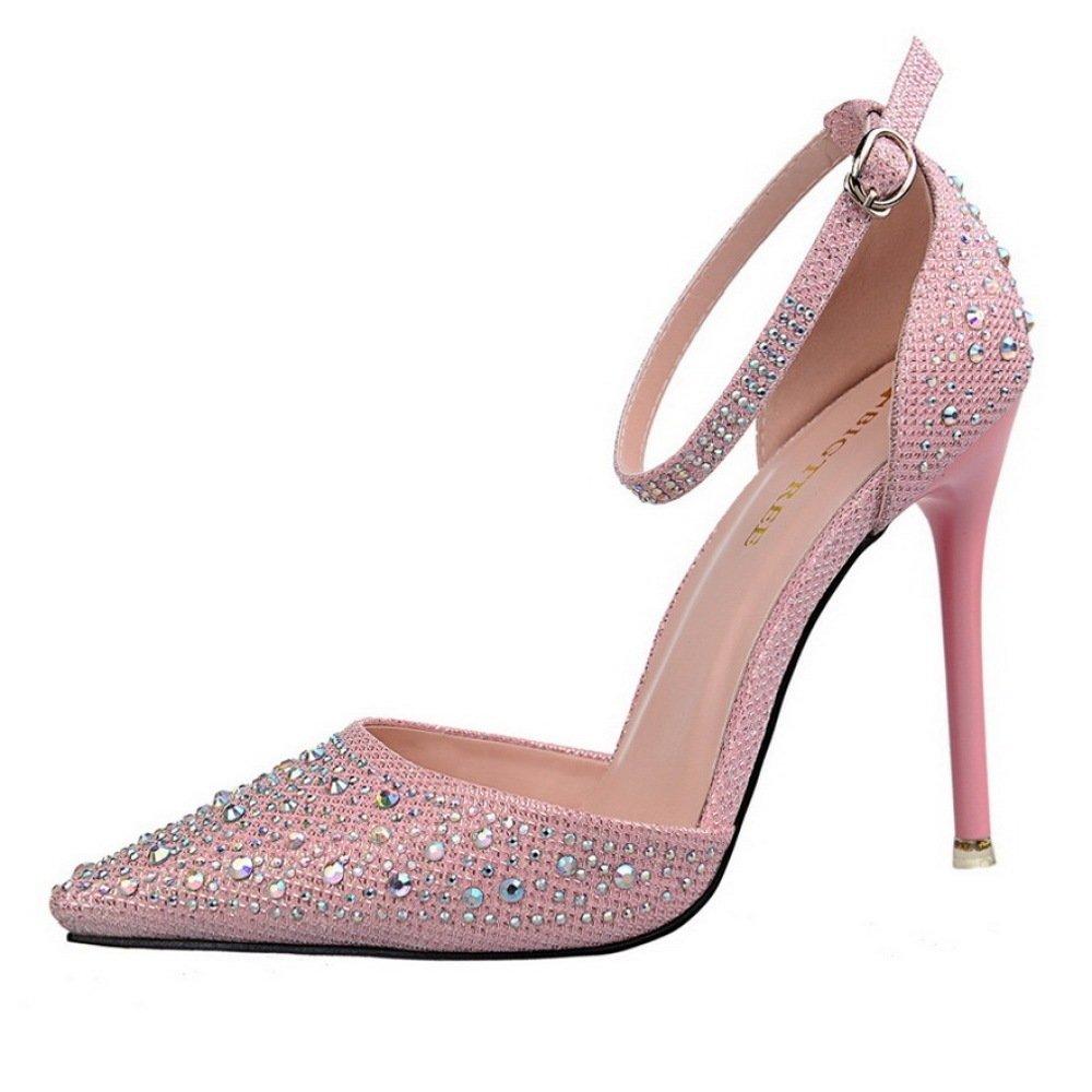 WKNBEU Femmes Shallow 8475 Pointu Orteil Strass Brillant Argent B07D49L3H6 Strass Noir Rose Sexy Talons Stiletto Mariée Demoiselle d honneur Slip-on High Heel Sandales Pink 73602c5 - epictionpvp.space