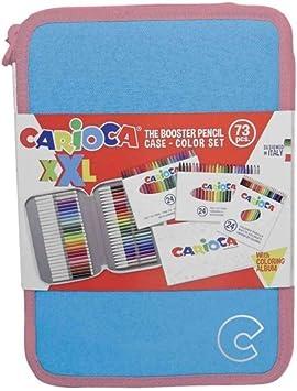 CARIOCA Estuche XXL Pastel   Estuche Grande Bandolera con Lápices de Colores y Rotuladores, 2 Cremalleras con Material Escolary Álbum para colorear, Verde Pastel 72 uds: Amazon.es: Equipaje