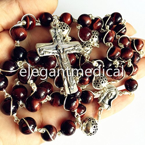 elegantmedical Bali 925 Sterling Silver Beads 8MM Tiger Eye Rosary Cross Catholic Necklace - Box Gift Silver Bead