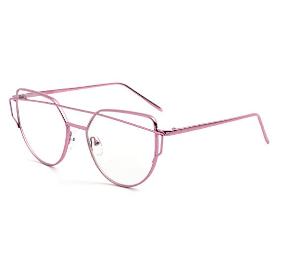 8e7ca4e8d336 Cat Eye New Fashion Clear Lens Glasses Frame Non-Prescription Sunglasses  for Women (Pink