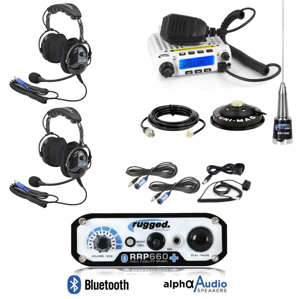 Rugged Radios RRP660 Intercom and RM60 60 Watt VHF Two Way Mobile Radio 2 Place Race System Kit with Over The Head Style Headsets, Push to Talk Cables, Intercom Cables, Antenna and Antenna Mount by Pacific Stereo