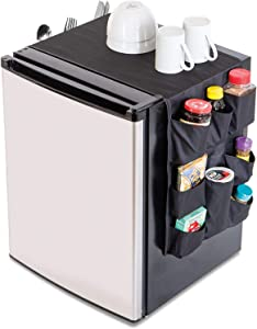 Smart Design Mini Fridge Organizer w/ 12 Pockets - Durable Polyester Material - Stores Pantry Items, Cutlery, Utensils, Bottles, Plates, More - Home & Dorm Organization (53.5 x 12 Inch) [Black]