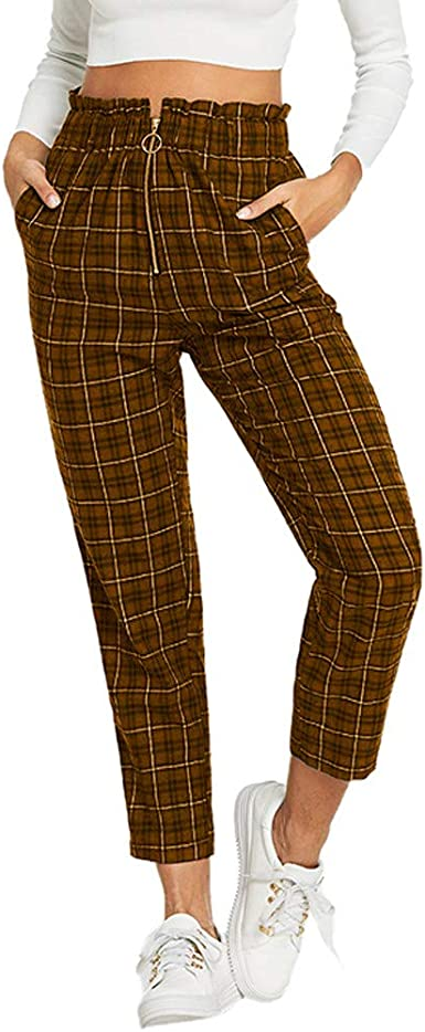 HHei/_K Womens Lounge High Waist Frill Trim Exposed Zip Fly Plaid Pants Casual Elastic Waist Stretch Pocket Pencil Pants
