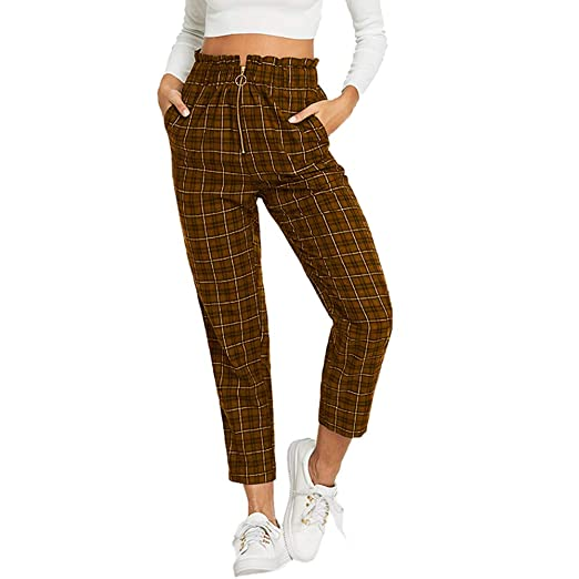 5657bd1985f Amazon.com  GOVOW Business Casual Pants for Women Plus Size Elastic Waist  Shein Exposed Zip Fly Plaid Peg Pants  Clothing