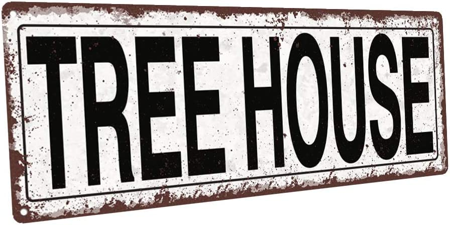 Homebody Accents TM Tree House Metal Street Sign, Rustic, Vintage