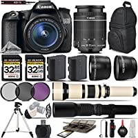 Canon EOS 70D SLR Wi-Fi Camera + Canon 18-55mm IS STM Lens + 650-1300mm Zoom Lens + 500mm Telephoto Lens + 0.43X Wide Angle Lens + 2.2x Telephoto Lens + 64GB Storage - International Version