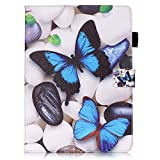 Apple iPad Air 2 Case [with Free Earphone], Billionn 3D glitter PU Leather Flip Cover Shell Wallet Slim Stand Protective Cover for Apple iPad Air 2 (Blue butterfly)